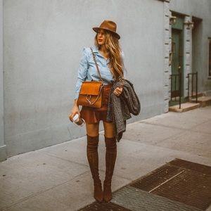 Cognac faux leather skirt